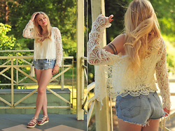 Milena Olimpia Dziewulska - Second Hand Jacket, Zara Top, Second Hand + Diy Shorts, C&A Shoes - White lace