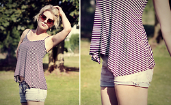 Chris Gentner - Dorothy Perkins Striped Camisole, Vintage Denim Shorts - Denim and stripes.