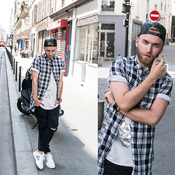 Luke Witek - H&M Longline Shirt, Robert Kupisz Metallic Tshirt, H&M Leather Snapback, Diesel Watch, Zara Ripped Jeans, Adidas Python Leather Stripped Superstars - You can keep me inside the pocket of your ripped jeans...