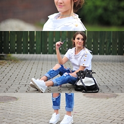 Iwińska .com - Stylmoi - A white sailor suit with trousers Boyfriend