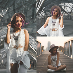 Sebelle Sharmine - Alltimefavco Macrame Fringe Top, Forever 21 Boho Necklace, Factorie Fedora Hat - Helix White