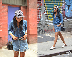 Sharena C. - Max Azria Denim Button Up, Zara White Loafers, Zerouv Snapback, Denim Shorts - Double D's