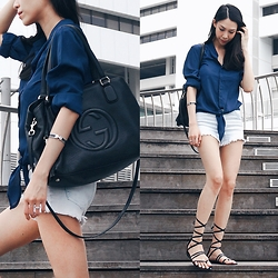 Audrey Tan - Gucci Soho Bag, Hermës Enamel Cuff, H&M Denim Shorts - Blue Skies And Sunny Days