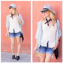 Zia Domic - Topshop Silk Shirt, 7 For All Mankind Denim Shorts, Forever 21 Fedora - Friction