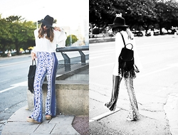 Carla Estévez - Missguided Trousers, Missguided Blouse, Cortefiel Backpack - All in flared
