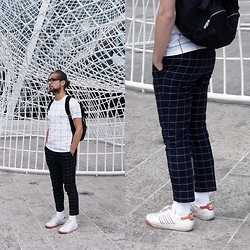 Ward M - Zara Checked Shirt, Zara Checked Pants, Adidas Vintage, Cos Minimalist Backpack - Calgary squares