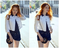 Elenah Kruk - Levi's® Levi's 501 Shorts, Sisley White Jacket, Zara Head Band, Esprit Shirt, Vintage Bag - City Hippy