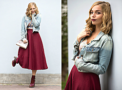 Didi Ibarra Rake - Midi Skirt, Forever 21 Denim Jacket, Lola By Melissa Del Solar Booties, Coach Handbag - Burgundy Intervention