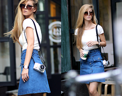 Sirma Markova - Romwe Denim Skirt, H&M Ribbed Top, Shein Sunglasses, Olympus Pen Camera, Daniel Wellington Watch - Take a Stroll