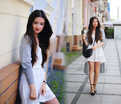Magdalena S - Sheinside Dress, Parfois Shoes - White dress long sweater