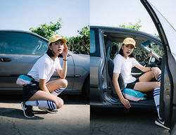 Xuan Huang - Woodstuck Baseball Cap, Woodstuck Pocket, Adidas Football Socks, Nike Roshe Run - Old School Sporty Girl