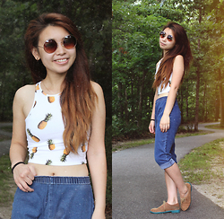 Teresa Vu - Aeropostale Pineapple Crop Top, Tommy Hilfiger Two Tone Oxfords - East of Eden