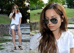 Marija M. - New Yorker White T Shirt, New Yorker White Pu Leather Shorts, Deichmann Black Thong Sandals - Friday whites