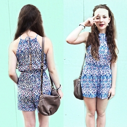 Polina B. - H&M Romper, Tommy Hilfiger Bag, Ray Ban Sunwear, Swatch Watches - Mint