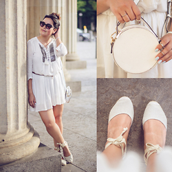 Carlinka Marisol - Zara Dress, Topshop Round Bag, S.Oliver Espadrilles, Topshop Sunglasses, Forever 21 Rings - WHITE SUMMER LOOK