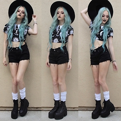 Kirsten Vogel - Killstar Cozmic Crop, Pacsun Shorts, Unif Era Boots, Wren & Glory Antler Necklace - FATHOM