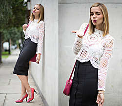 Didi Ibarra Rake - Sheinside Blouse, Lalalove Kiss Me Now Stilettos, Zara Skirt - Kiss Me Now