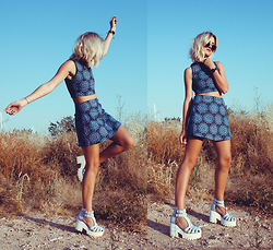 Mikuta - Motel Top, Motel Skirt, Asos Shoes - Matching blue