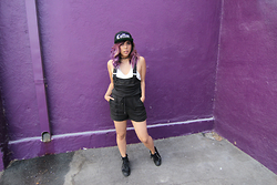 Yuka I. - G&B Coffee Snapback, Free People Overalls, Forever 21 Crochet Halter Top, Guiseppe Zanotti Sneakers - Rise and grind