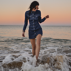 Elle-May Leckenby - Denim Button Up Dress, Vintage Framed Sunglasses - Diving in