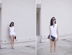 Kay Lai - Alexander Wang Top, A&F Denim Shorts, Alexander Wang Heels, Jnby Clutch - WASHED OUT