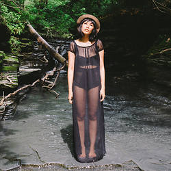 Kris S. - Forever 21 Chiffon Maxi Dress, American Apparel Mesh Nylon Tricot High Waist Brief, Urban Outfitters Lace Underwire Longline Bra - 0 7 0 4