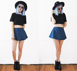Gigi M. - Newdress Cropped Lapel Top, Newdress Denim Skirt - Neptune
