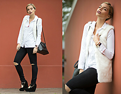 Didi Ibarra Rake - Tbq Shirt, Tbq Faux Fur Vest, Zara Black Jeans, Kate Spade Handbag, Daniel Wellington Watch - White Winter