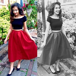 Jessica - Choies Red Vintage Midi Skater - 1950's; vintage; classic outfit.