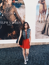 Oksana X. - Topshop Jacket, Topshop Dress, Mohito Bag, Converse Shoes - Cold summer