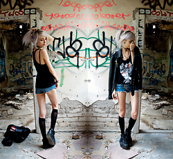 Kimi Peri - Rebel Circus Ink Addict Bully Racerback Tank Top, Amazon Platform Sneaker, Knee High Socks, Unif Americana Moto Jacket, Diy Studded Denim Shorts, Choker, World Famous Original Pins - Abandoned Times