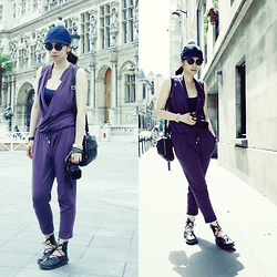 Petrina Hsieh - Costo Denim Hat, Stefanel Purple Jumpsuit, Cos Leather Bag, Trippen Leather Shoes - In love with Paris