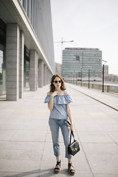 Margot Thibaut - Mango Off The Shoulder Top, Céline Bag, Zara Jeans, Pimkie Flatforms - Denim lover