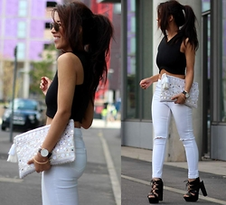 Sindy N - Missguided Top, Topshop Pants, New Look Shoes - Tassel Clutch