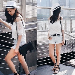 Audrey Tan - Dresslink Lace Top, H&M Denim Shorts, Chanel Boy Bag - 20.07
