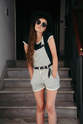 Stacey Gray Macdonald - Missguided Stripe Dungarees, Asos Belt, Topshop Crop Top - Dungarees