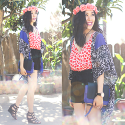 Sherry Lou - Sherry Lou Studio Kimono, Sherry Lou Studio Floral Top, Como La Flor Halos Floral Halo, Asos Shorts, Urban Outfitters Bag, Ross Wedges - Electric Blue