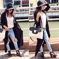 Jessica - Choies Ripped Jeans, Primark Waterfall Jacket, River Island Fedora Hat, Miss Selfridge Cut Out Shoe Boots - City Chic
