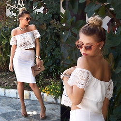 Cosmina M. //mbcos.net - Dresslink Lace Crochet Top, Pull & Bear Pencil Skirt, Stradivarius Wedges Sandals, H&M Sunglasses - Two white pieces