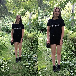 Amélia T. - Diy Bastille Tee, Diy Thrifted Shorts, Forever 21 Clutch Bag, Topshop Sneakers - Exploring my city