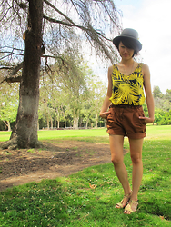 Josephine Chang - Forever 21 Grey Fedora, H&M Palm Tree Leaves Tank, H&M Brown Shorts - A Touch of Summer