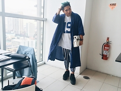 "Abraham Guardian - Ralph Lauren Grid Bathrobe, Reebok ""19"" Jersey Tee, Reebok Stripped Joggers, Underground Triple Sole Creepers - Pajamas and Jersey"