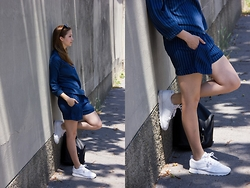 Julie Dvorakova - H&M Shirt, H&M Shorts, Reebok Sneakers, Asos Backpack - STRIPED SET