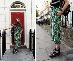 Emma Istvanffy - H&M Pants, Choies T Shirt, Primark Backpack, Vagabond Sandals, Zerouv Sunnies - LEAF PRINTS & STRIPES | LONDON OUTFIT