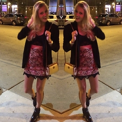 Meredith Simmons - Topshop Embroidered Skirt, Louise Et Cie Black Booties, Dooney &Burke Purse - Night Out