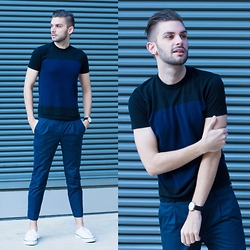 Aaron Wester - Club Monaco Cotton Crew, Topman Trousers - Blue Man
