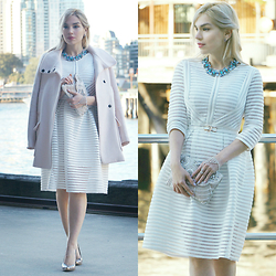 Scarlett Vargas - Happiness Boutique Necklace, Forever New Clutch, Juicy Wardrobe Dress, Zara Coat - Another white dress on winter
