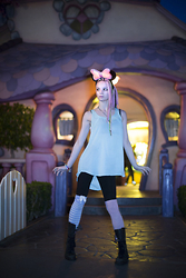 Fox Chalker - Thrifted Powder Blue Tunic Tank, Forever 21 Black Leggings, Angelic Pretty Bunny Eared Stripey Sock, Sock Dreams Pink N40s, Dr. Martens Womens Triumph 1914, Disney Light Up Minnie Mouse Ears, Victorias Secret Sports Bra - Disney Dolly