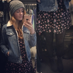 BeingSamNeill - Factorie Fisherman Beanie, Ghanda Denim Jacket, H&M Floral Dress, Factorie Worker Boots - Floral Lumberjack