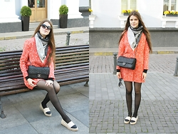 Adelina - Gina Tricot Coat, Chanel Bag, River Island Flats, Louis Vuitton Scarf - Orange coat